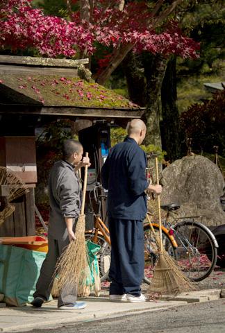 Monks sweeping at Buddhist temple, Koyasan